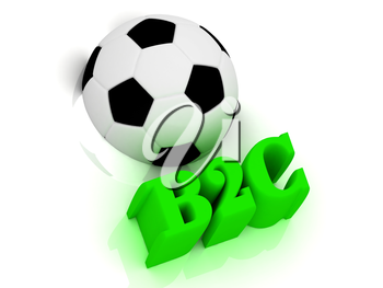 B2C bright volume letter word, football half ball on white background
