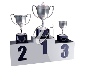 Royalty Free Clipart Image of Trophies