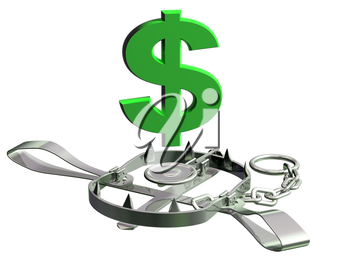 Royalty Free Clipart Image of a Bear Trap with a Dollar Sign