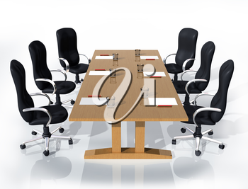 Royalty Free Clipart Image of a Meeting Table and Chairs