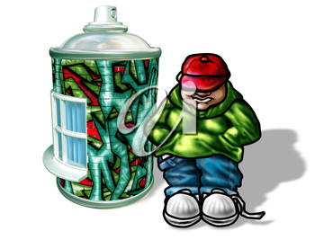 Royalty Free Clipart Image of a Paint Spray Can with Graffiti on it with a Boy Standing Beside it