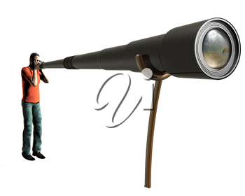 Royalty Free Clipart Image of a Person with a Camera with a Large Lens