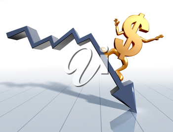 Royalty Free Clipart Image of a Dollar Sign on a Downward Arrow