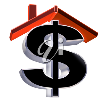 Royalty Free Clipart Image of a Dollar Sign Under a Rooftop