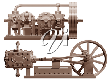 Royalty Free Clipart Image of a Steam Engine