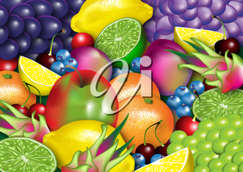 Royalty Free Clipart Image of a Background of Assortment of Fruits