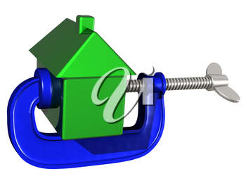 Royalty Free Clipart Image of a House in a Clamp