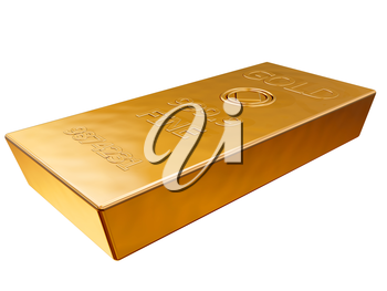 Royalty Free Clipart Image of a Gold Money Bar