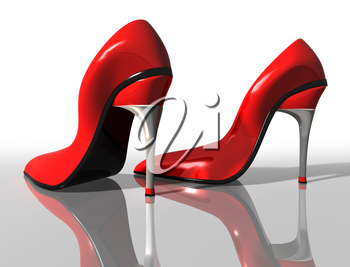 Royalty Free Clipart Image of a Pair of Red High Heel Shoes