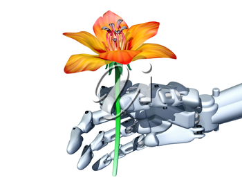 Royalty Free Clipart Image of a Robot Hand Holding onto a Flower