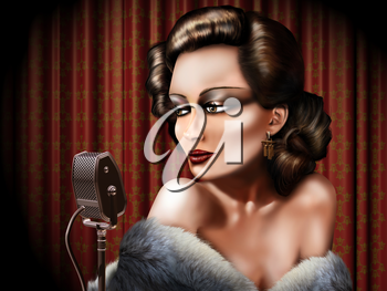 Royalty Free Clipart Image of a Woman Signing into a Microphone
