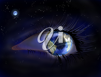 Royalty Free Clipart Image of an Eye Ball That Looks Like the World