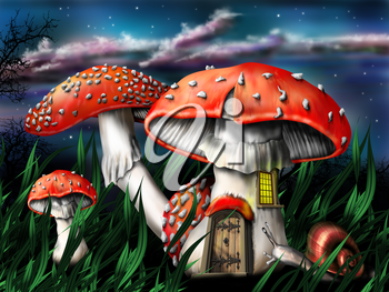 Royalty Free Clipart Image of Mushrooms that look like Houses