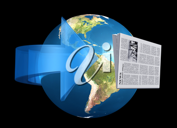 Royalty Free Clipart Image of a Newspaper and the Globe