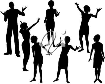 Royalty Free Clipart Image of People Celebrating