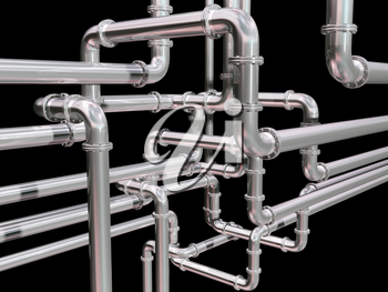 Royalty Free Clipart Image of Industrial Pipes