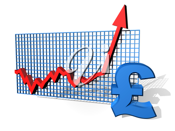 Royalty Free Clipart Image of a Line Graph with a Pound Sign