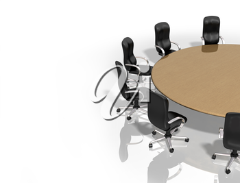 Royalty Free Clipart Image of a Meeting Room Table and Chairs