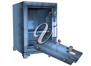 Royalty Free Clipart Image of a Safe That Is Open