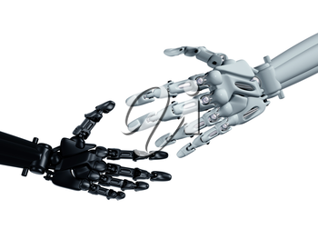 Royalty Free Clipart Image of Robotic Hands Shaking