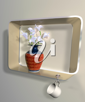 Royalty Free Clipart Image of a vase of flowers on an impossible shelf with a hanging cup