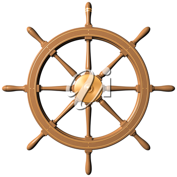 Royalty Free Clipart Image of a Traditional Ship's Wheel