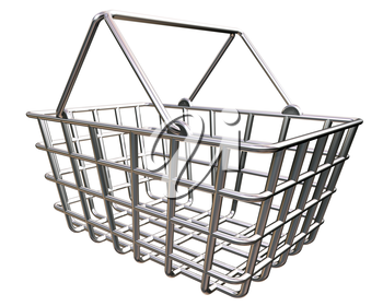 Royalty Free Clipart Image of a Stylized Shopping Basket Representing the Buying of Goods Oline.
