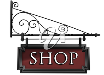 Royalty Free Clipart Image of an isolated Antique Style Shop Sign