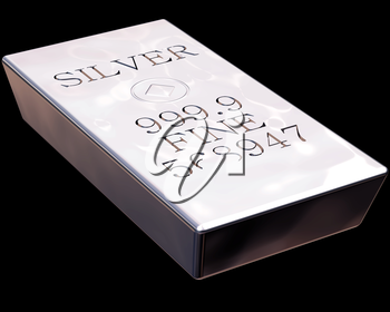 Single bar of pure silver isolated on a black background.
