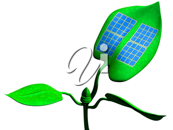 Royalty Free Clipart Image of a Solar Panel Attached to a Green Leaf