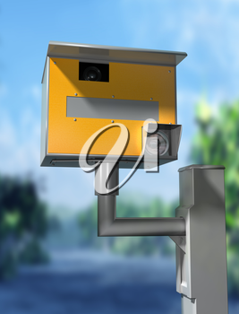 Illustration of a road safety speed camera
