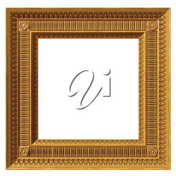 Royalty Free Clipart Image of a gilded square neoclassical picture frame