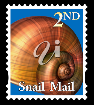 Royalty Free Clipart Image of a snail mail stamp isolated on a black background
