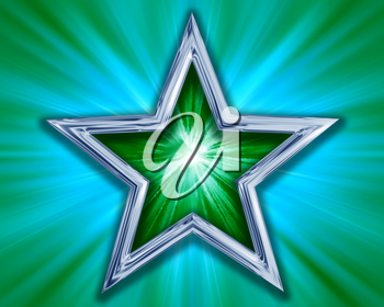 Royalty Free Clipart Image of a Green and Silver Star on a Blue-Green Background
