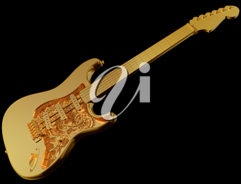 Royalty Free Clipart Image of an Original Customized Golden Guitar with Cogs and Gears