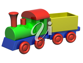 Isolated illustration of a wooden toy train