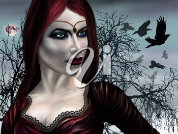 Illustration of a gothic vampire on a misty night