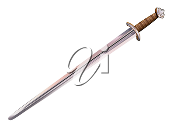 Illustration of an isolated Viking long sword