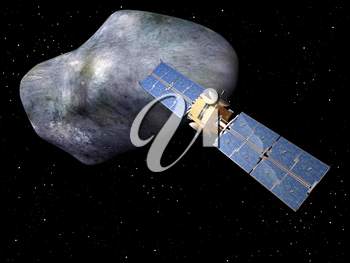 Royalty Free Clipart Image of a Satellite and Large Asteroid