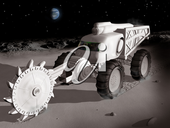 Royalty Free Clipart Image of a Lunar Excavator