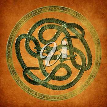 Green Serpent Celtic Knot on an old parchment document