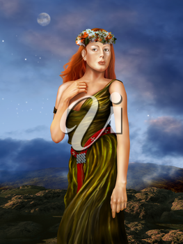 Illustration of a redheaded woman in a silk dress in a Pre Raphaelite style