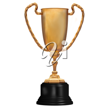Illustration of a highly polished gold trophy coming first