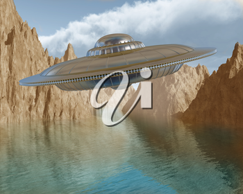 Illustration of a flying saucer hovering in the sky