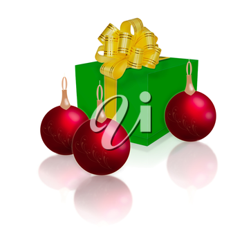 Royalty Free Clipart Image of a Gift Box With Ornaments