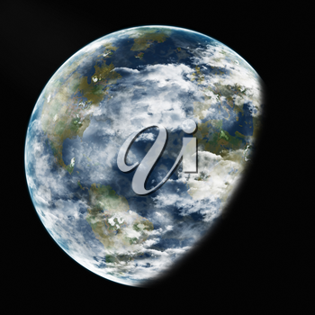 Royalty Free Clipart Image of Earth From Space