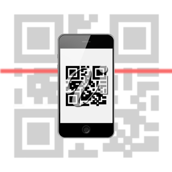 Mobile Smart Phone with QR Code Isolated on White Background. Highly Detailed Illustration.