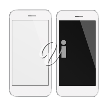 Realistic white mobile phones with blank and black screen isolated on white background. Highly detailed illustration.
