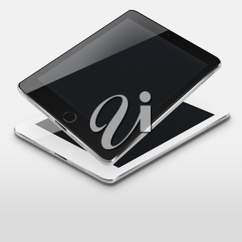 Tablet computers with black screens on gray background. Highly detailed illustration.