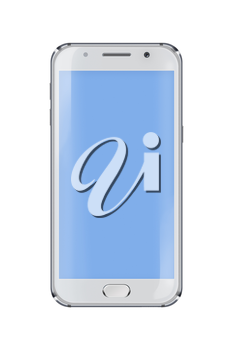 Realistic mobile phone with blue screen isolated on white background. Highly detailed illustration.